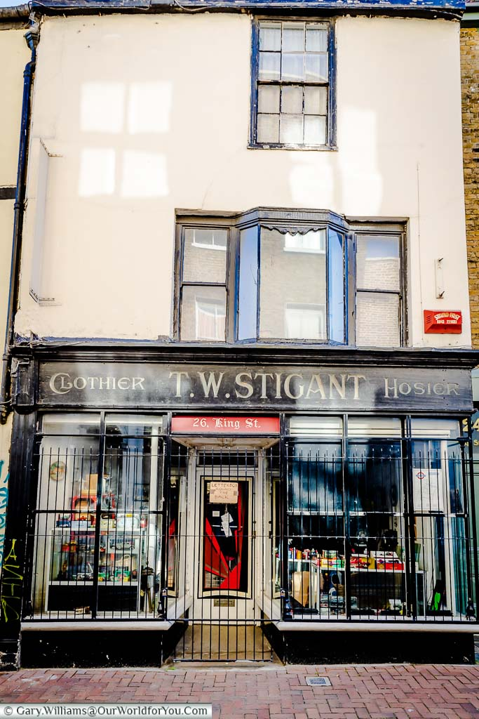 The traditional frontage of a shop that is now a toy store in the old town of Margate, Kent