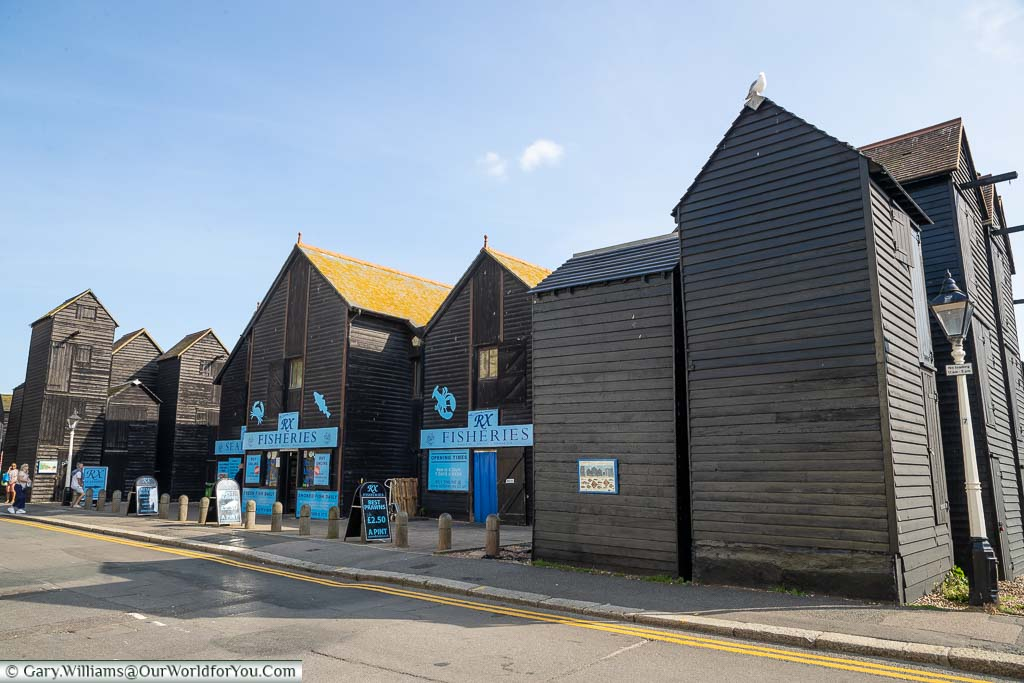 The fresh fish fishmongers based in the wooden black weather-boarded net sheds that sit on the beachside of the Rock-a-Nore region of Hastings