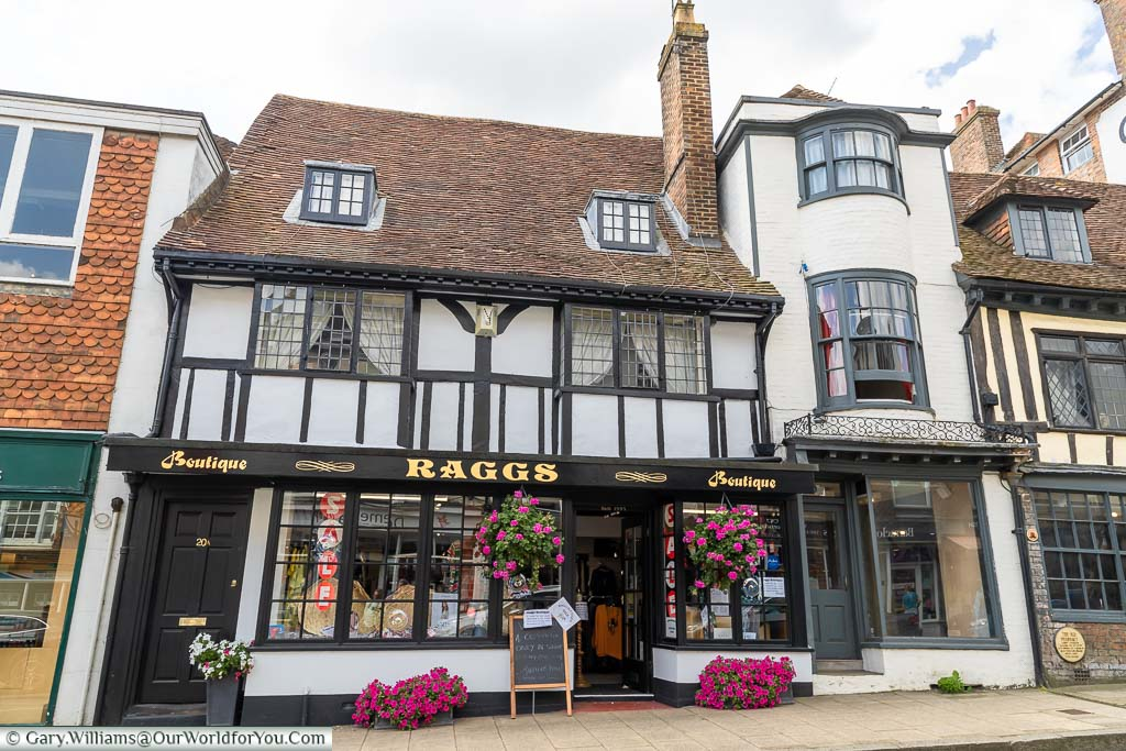 The Tudor building that is now Raggs boutique on Battle High Street, East Sussex