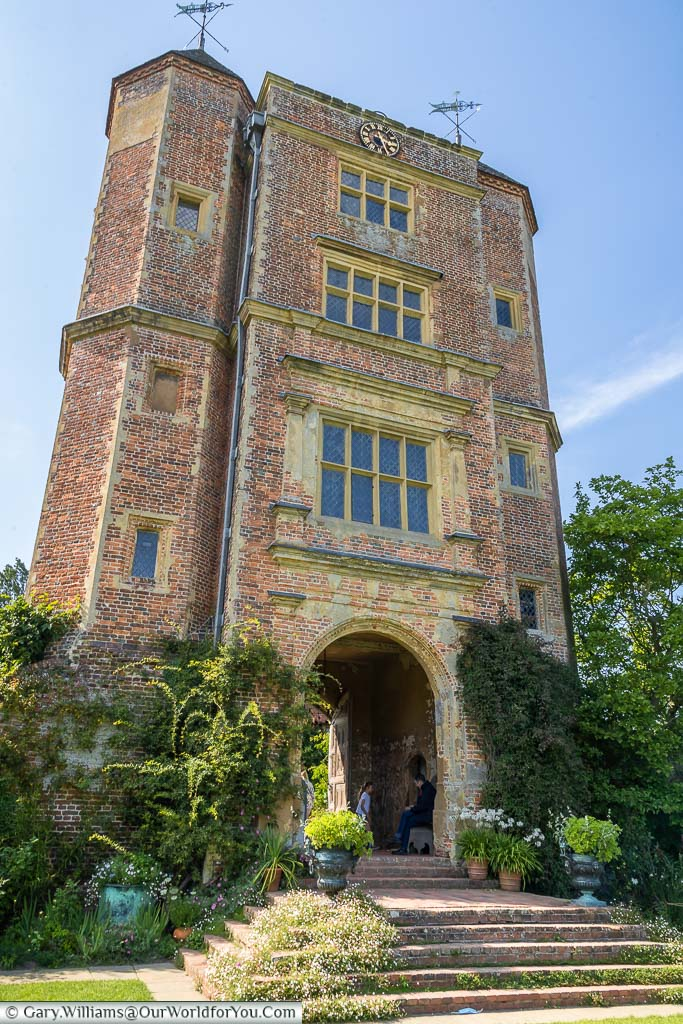 Looking up to the red-brick Elizabethan Sissinghurst Castle