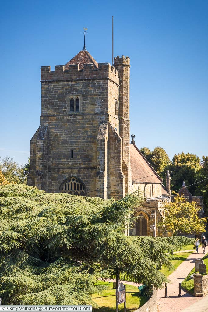The tower end of the church of St Mary the Virgin in Battle, East Sussex