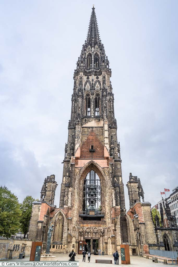 Looking up at the tower of bombed of St Nikolai-church tower from the nave. This ruined church has now become a memorial and museum to the bombing of Hamburg during the Second World war.