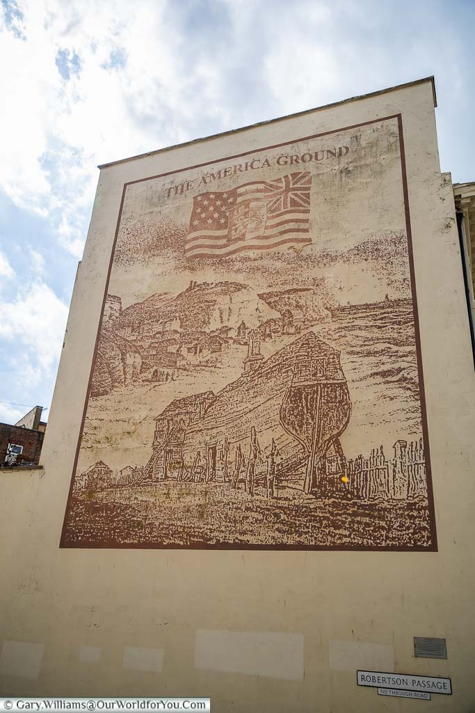A giant mural on a wall identifying this area of Hastings as America Ground