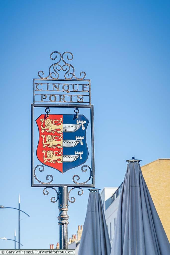A pub sign for the Cinque Ports, featuring the traditional front of 3 Norman Lions and the back of 3 Norman longboats, in Margate, Kent