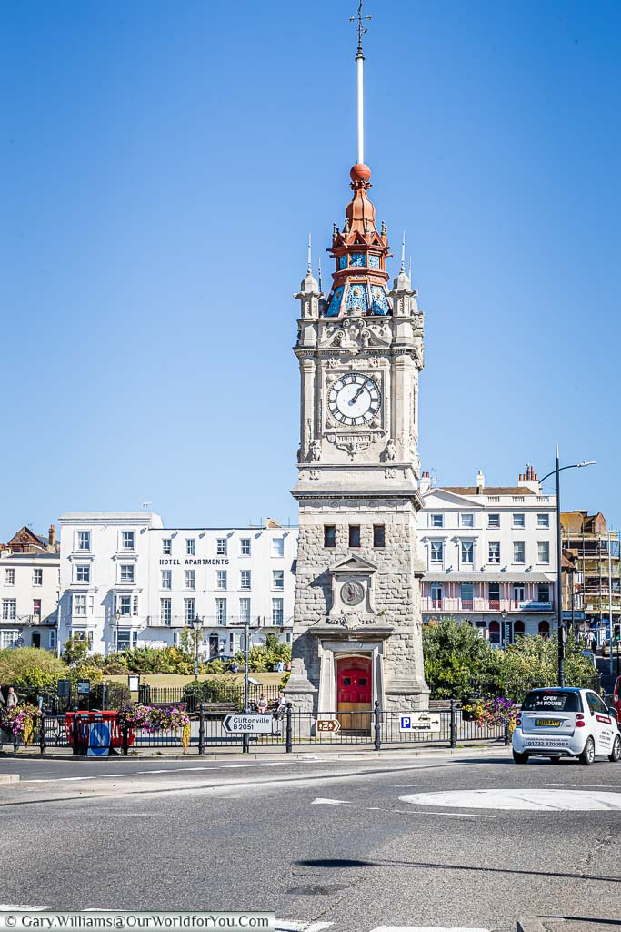 The restored Victorian clocktower & time ball at the junction of Marine Terrace, Marine Gardens & Marine Drive in Margate, Kent
