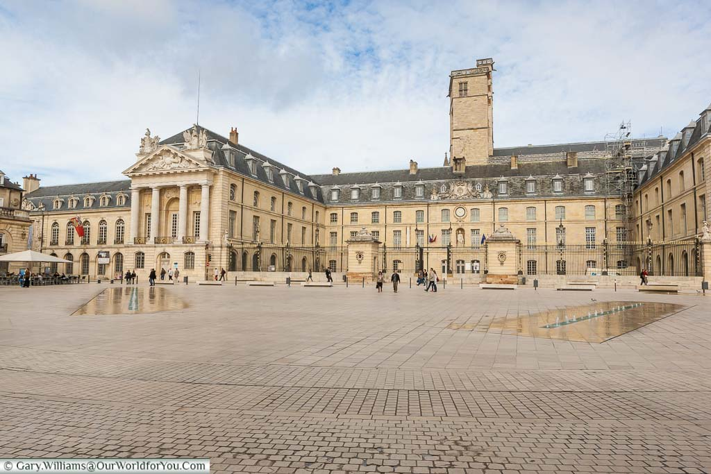 The grand stone palacial Dijon town hall from the Place de la Libération in the centre of Dijon, France