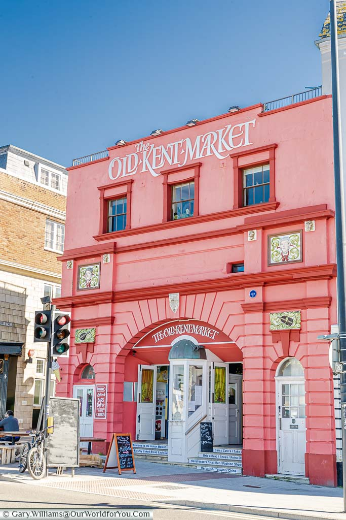 The Bright salmon pink former theatre that is now the Old Kent Market on Margate's Marine parade