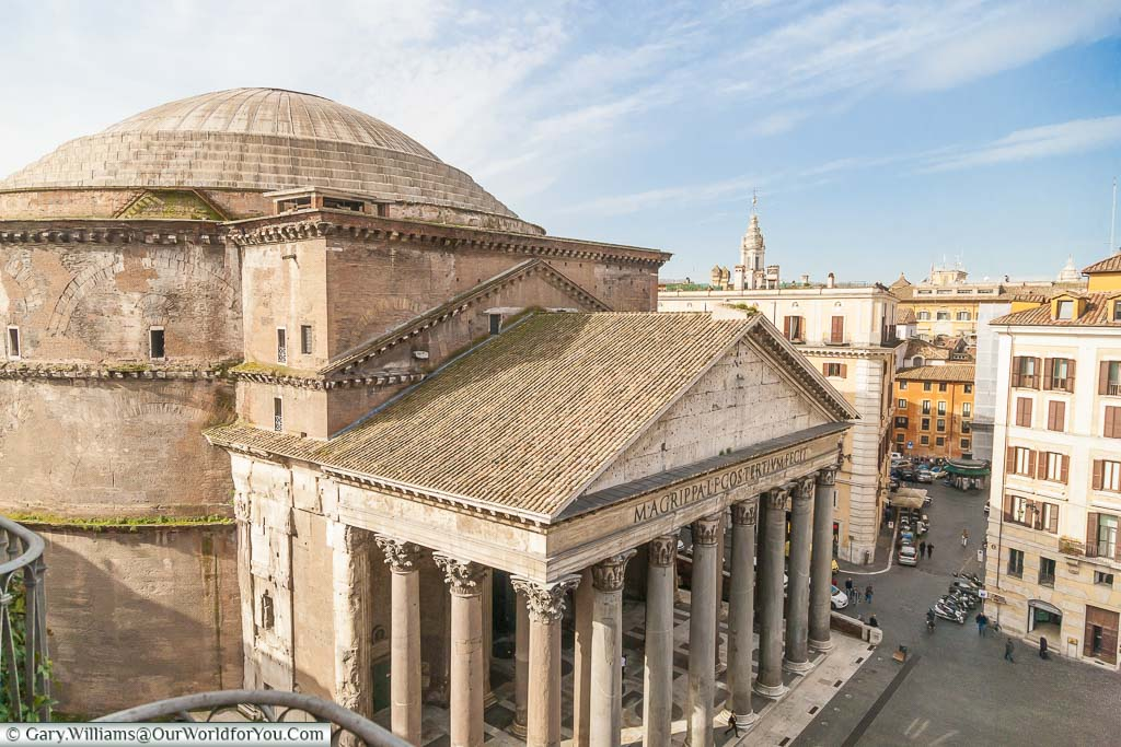 A view of the Pantheon from a third-floor room in a hotel in Piazza della Rotonda, Rome