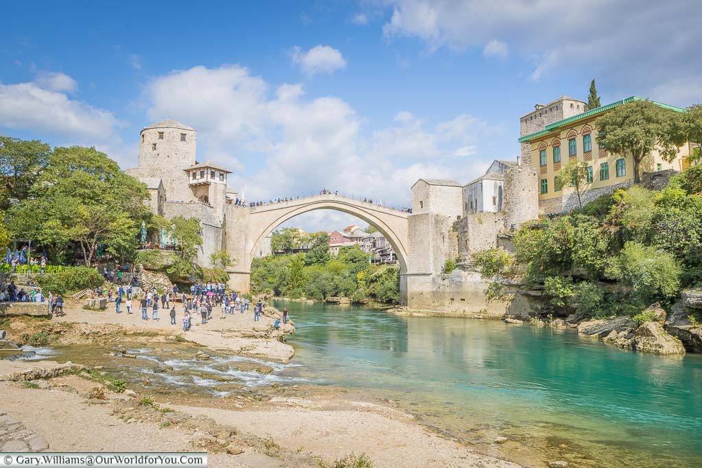The Stari Most above the Neretva River in Mostar, Bosnia and Herzegovina on our Our Croatian Road Trip