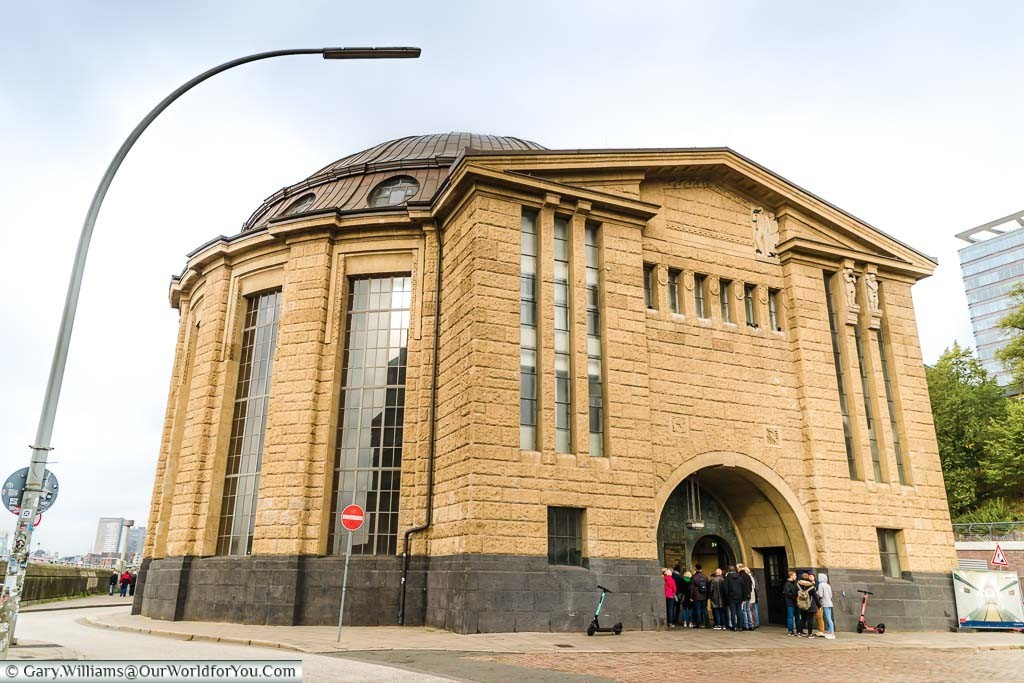 The stone rotunda building that houses the north entrance to the old Elbe tunnel in Hamburg