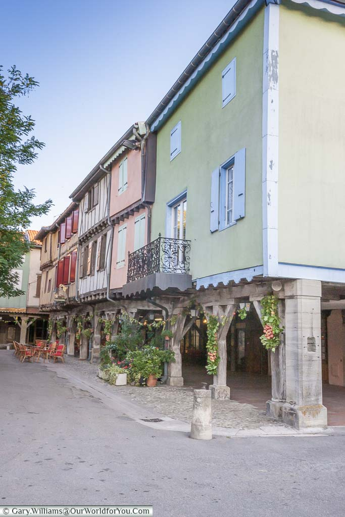 Homes and shops that line the medieval market square in Mirepoix