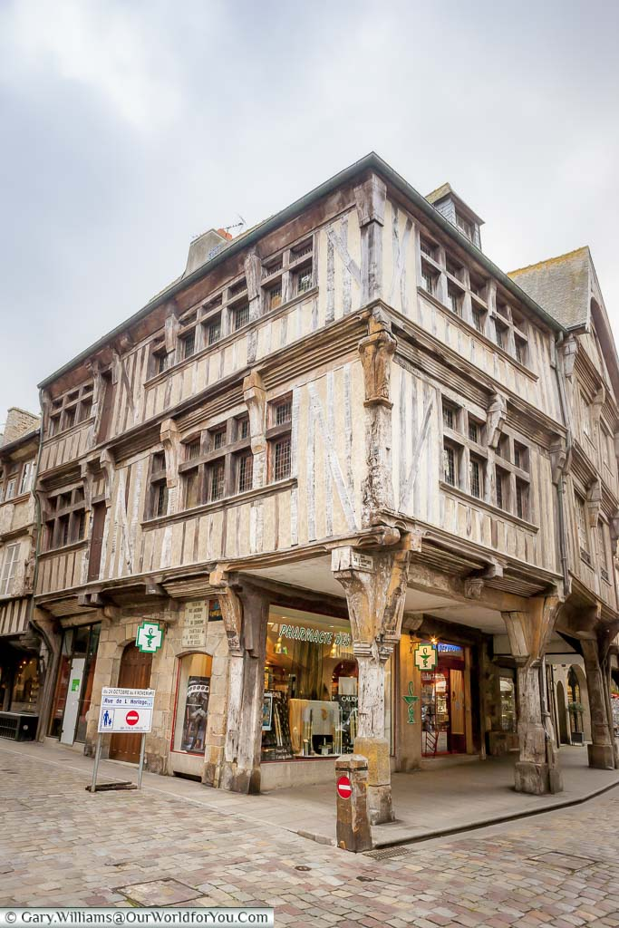 A half-timbered medieval gabled building in the centre of the old town of Dinan, France