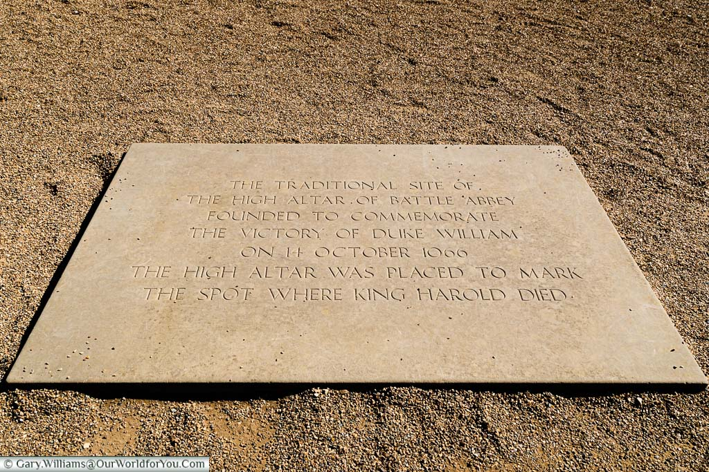 The stone represents the spot where King Harold died, Battle Abbey, East Sussex,, English Heritage, England