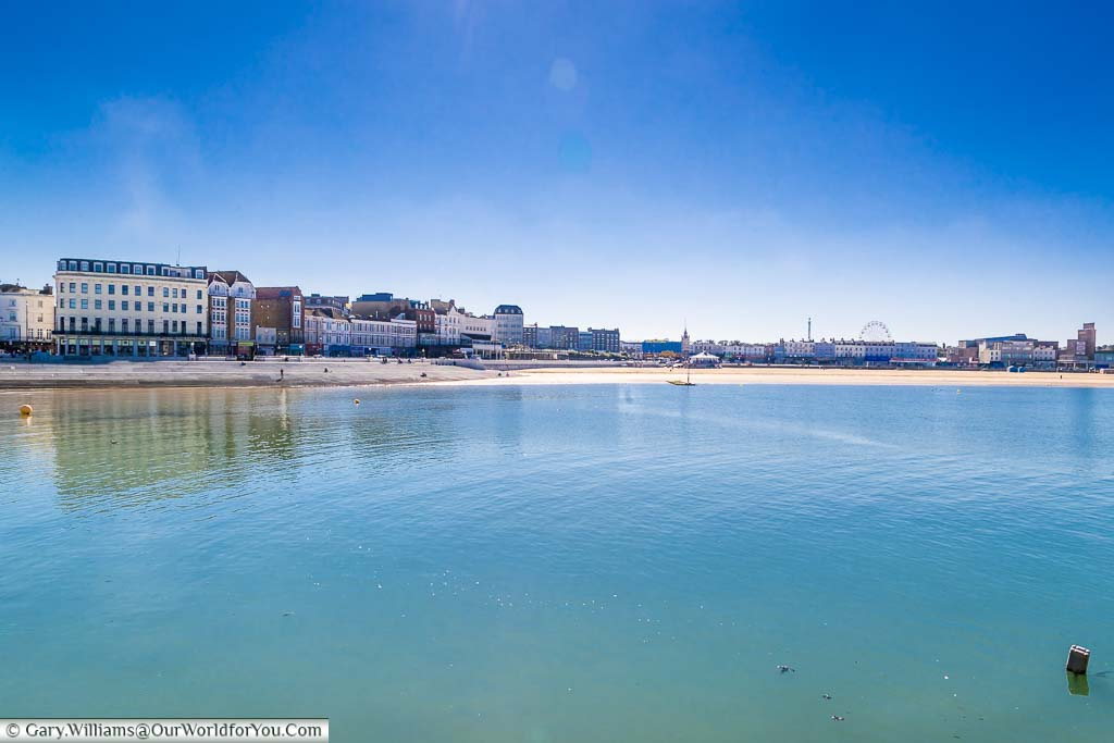 The view from Margate's harbour to its main beach and the town beyound