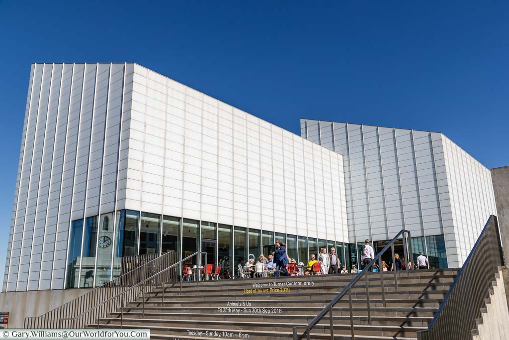 The white modernist building of the Turner Contemporary Gallery on the harbour's edge in Margate, Kent