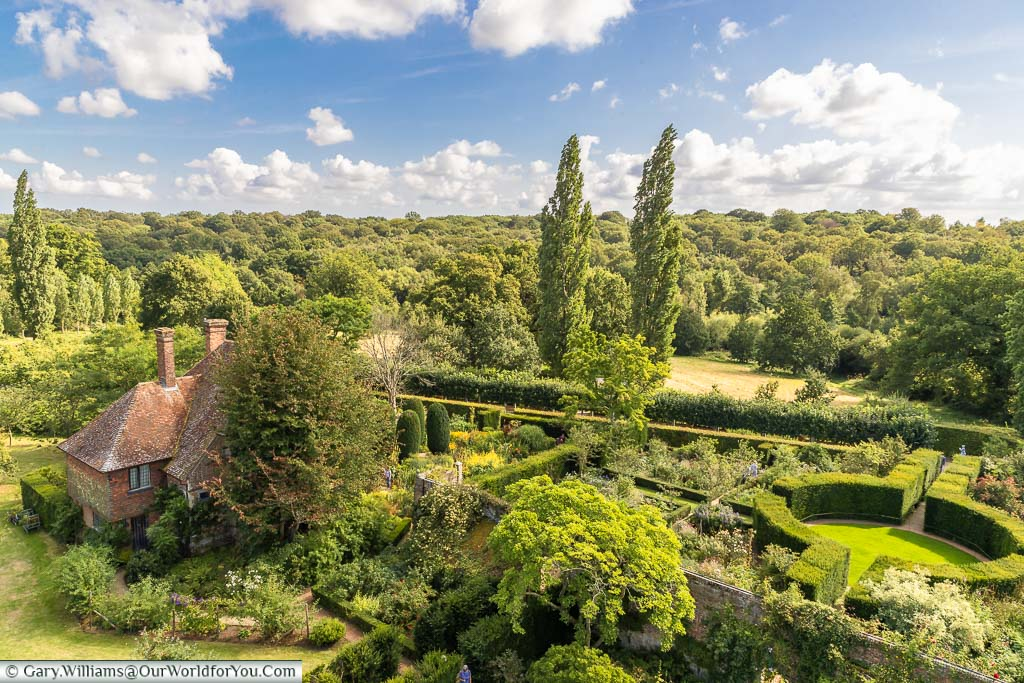 A view from Sissinghurst Castle tower to the rose garden and South Cottage in the estate grounds