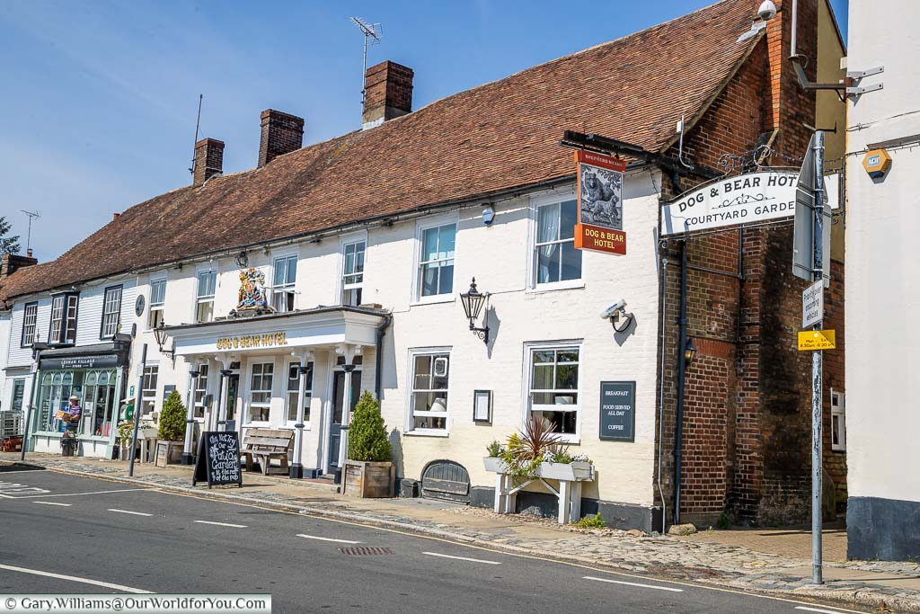 The 17th-century Dog and Bear Hotel in Lenham, that was once a coaching inn on this historic road.