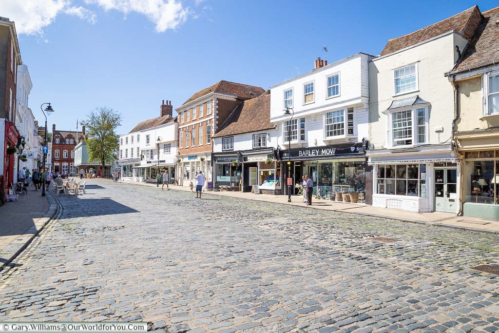 A view down the Court Street in Faversham, looking towards the Guildhall