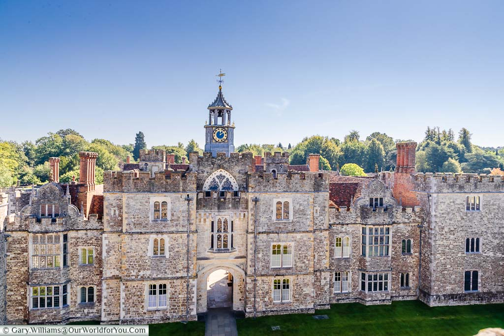 Looking from the tower, across the Green Court, to the clocktower and gatehouse leading to the Stone Court of Knole House