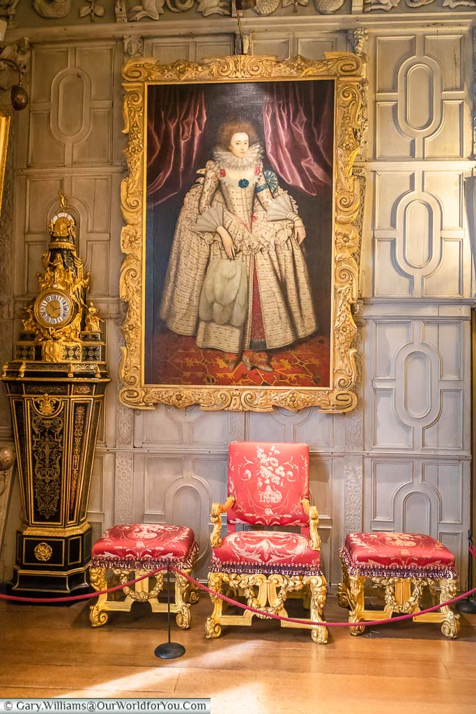 A portrait handing in the corner of the ballroom of the National Trust Knole house