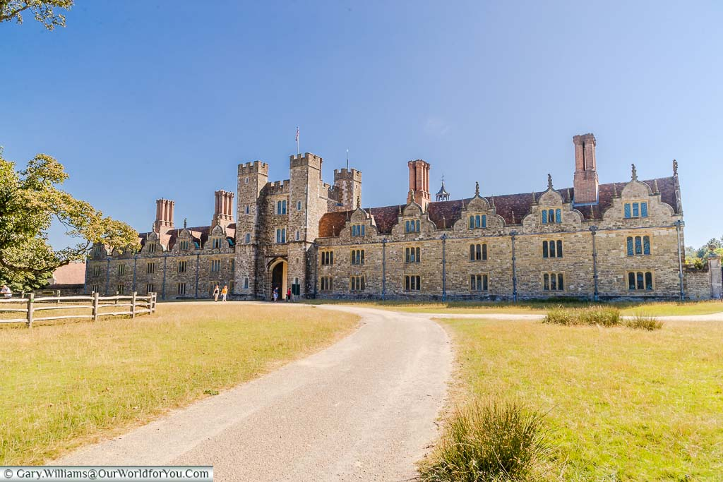 A wide path leading up to the gatehouse entrance of Knole House