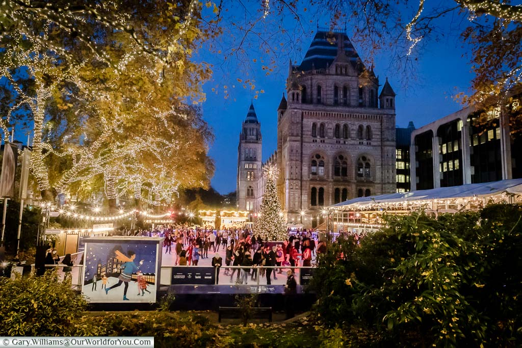 The Natural History museum's ice rink at dusk with the Victorian building that houses the museum in the background. The trees surrounding the rink are decorated with thousands of fairy lights.