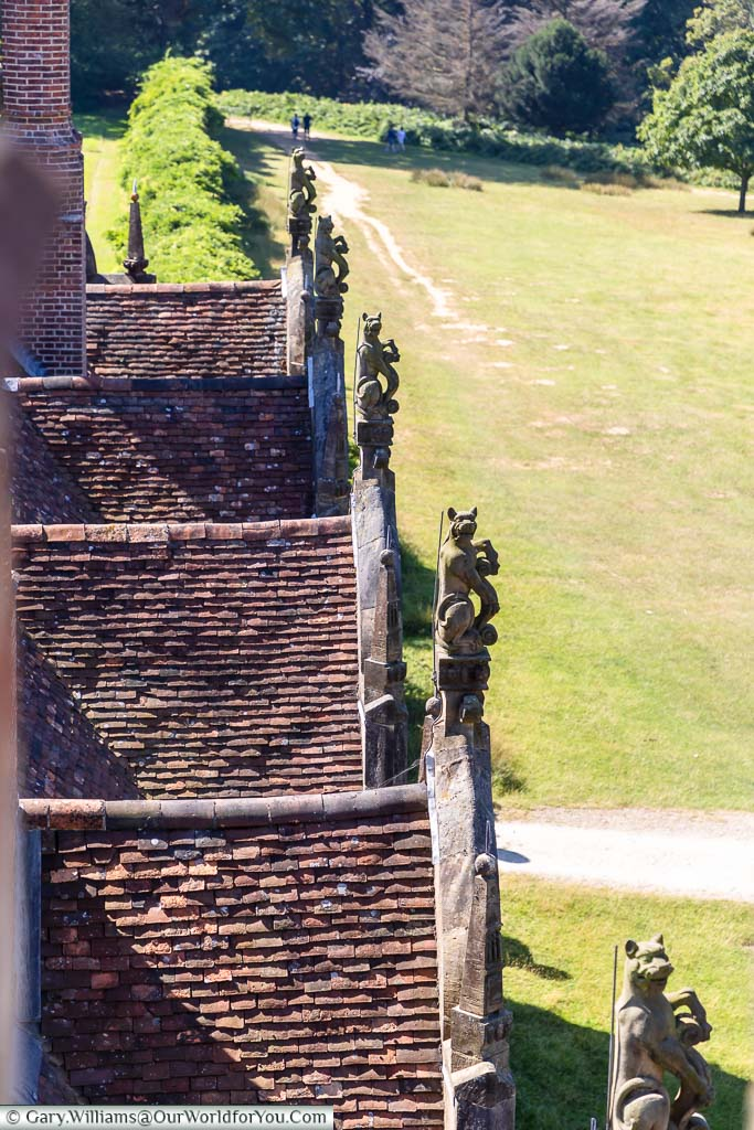 Looking down from the tower to the facade of Knole House with the Sackville's emblem, leopards, carved in stone on the apexes