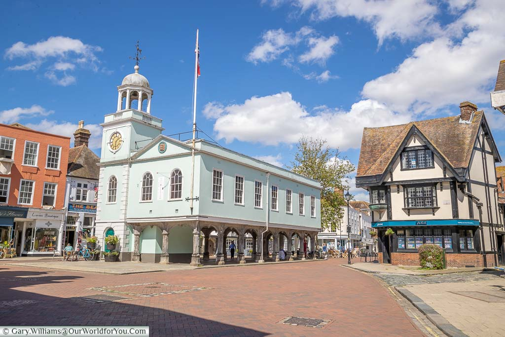 The view of the 17th-century Guildhall in the centre of Market Place in Faversham