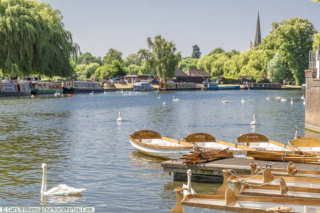 Little rowing boats moored up on the River Avon, with the Holy Trinity church in the background, in Stratford-upon-Avon