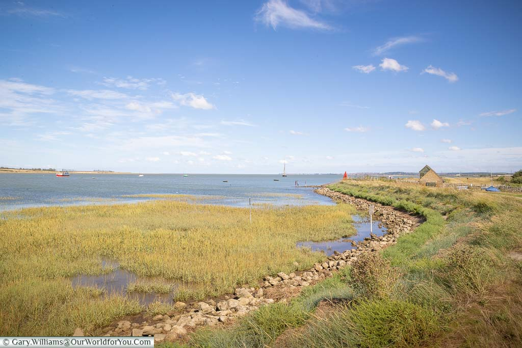 The shoreline at Oare Marshes Nature Reserve