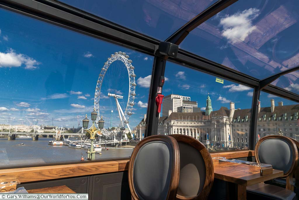 The view from Westminster Bridge to the old County Hall and the London Eye.